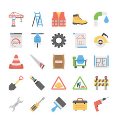 flat icon set of under construction vector image