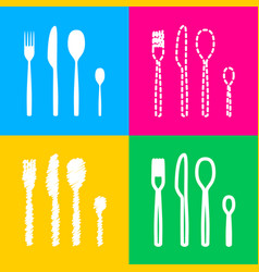 Fork spoon and knife sign four styles of icon on vector