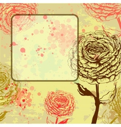 Grungy rose background with frame vector image vector image