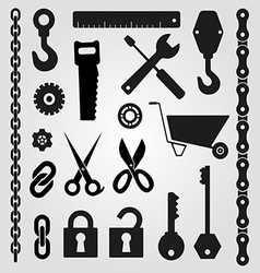 Hand tools set of icons vector image