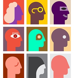human heads 3 vector image vector image