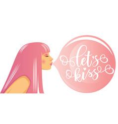 Lets kiss lettering motivation poster vector
