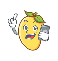Mango character cartoon mascot with phone vector