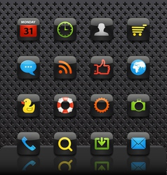 Mobile interface with color icons template vector image