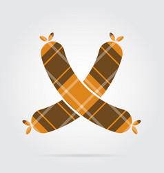 Orange black tartan icon - two crossed sausages vector