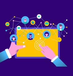 People on social media online tablet device app vector