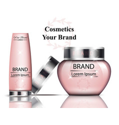 pink cosmetics packaging realistic vector image vector image