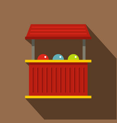 Red carnival fair booth icon flat style vector