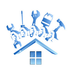 repairing a house symbol with a tool vector image