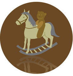 Rocking horse with bear vector
