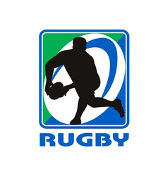 Rugby player passing ball facing front vector