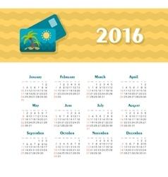 Sea calendar for 2016 week starts sunday vector