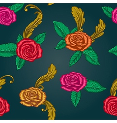 seamless pattern with roses vector image vector image