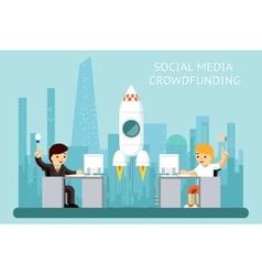 Social media cowdfunding vector image vector image