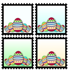 Stamps with easter eggs vector