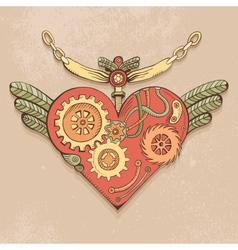 steampunk heart color vector image vector image