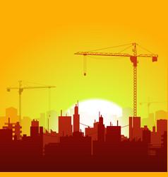 sunrise cranes and construction background vector image vector image