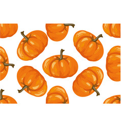 Vegetable pattern pumpkin seamless background vector
