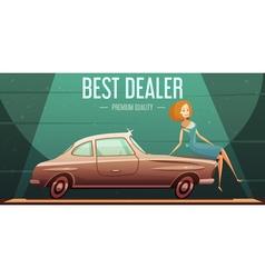 Vintage car sale dealer retro poster vector