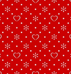 Vintage polka dot pattern with snowflake and heart vector image vector image