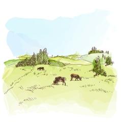 Watercolor landscape with cows vector