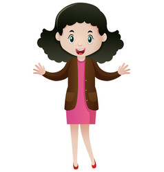 woman wearing brown jacket and pink dress vector image