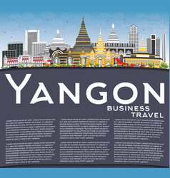 Yangon skyline with gray buildings blue sky and vector