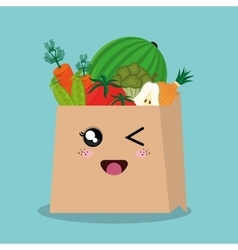 cartoon bag vegetables fruits design isolated vector image