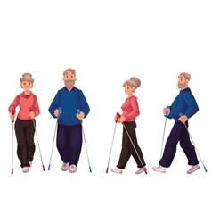 Couple of elder adult nordic walkers male and vector