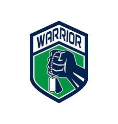 Clenched Fist Dogtag Warrior Crest Retro vector image