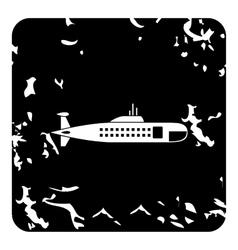 Submarine icon grunge style vector