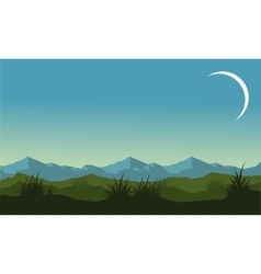 Silhouette of hill and mountain landscape vector