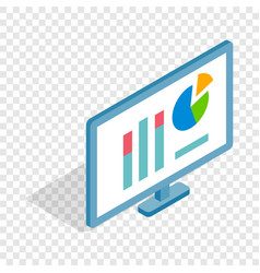 monitor with charts isometric icon vector image