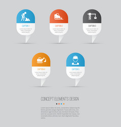 architecture icons set collection of digger vector image