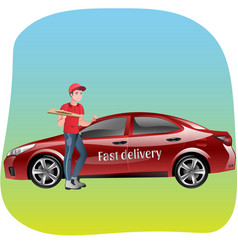 Delivery man with pizza vector