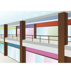 Mall with windows and brown columns vector