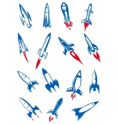 Cartoon blue space rockets and missiles vector