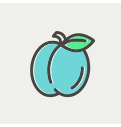 Plum with leaf thin line icon vector
