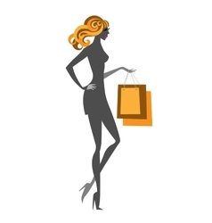 Blonde glamour shopping girl with purchase packs vector