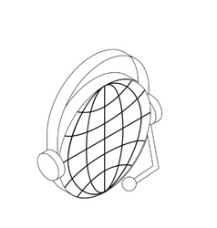 Globe with headset icon isometric 3d style vector