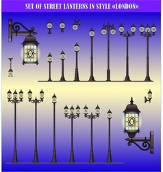 set of Street lanterns vector image