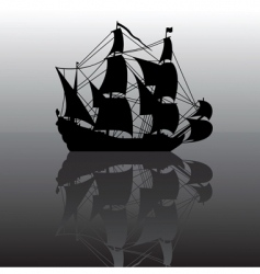 Sailboat at night silhouette vector