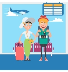 Happy couple waiting to departure in airport vector