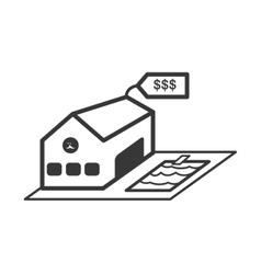 Building with label icon real estate design vector