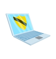 Virus protection on the laptop icon cartoon style vector