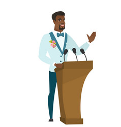 African groom giving a speech from tribune vector