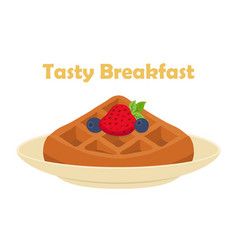 Belgian chinese waffle - chocolate cream berries vector