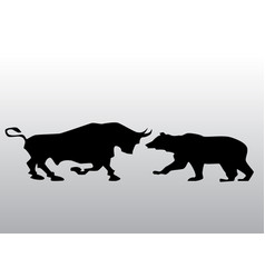 Black silhouette bull and bear financial vector