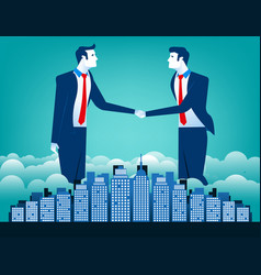 business team shaking hands with city background vector image vector image