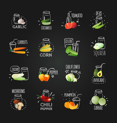 Chalkboard vegetables emblem set vector